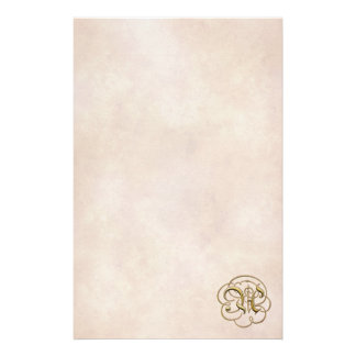 """Gold """"A"""" Monogram on Aged Paper 2 - Stationery"""