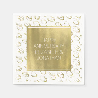 Gold Abstract Circles Personalized Disposable Napkin