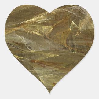 Gold Abstract Fractal Heart Sticker