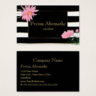 Gold Accent Black Stripes Pink Daisies Business Card