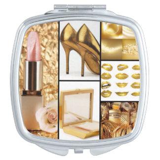 Gold Accessories Glamorous Fashion Collage Vanity Mirror