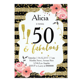 Gold adult birthday party invitation