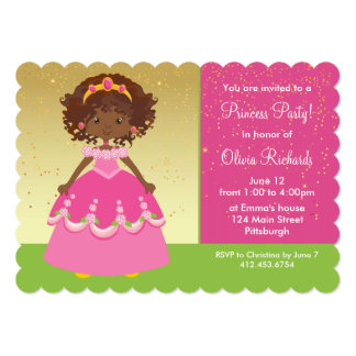 Gold African American Princess Girl Birthday Party 13 Cm X 18 Cm Invitation Card
