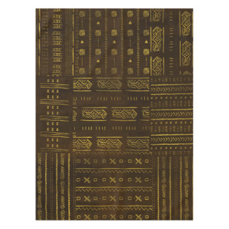 Gold African Tribal Pattern on rich brown texture Tablecloth
