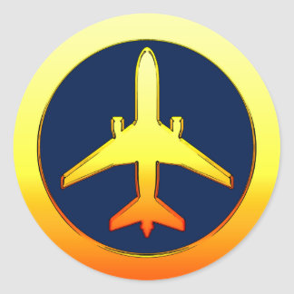 Gold Airliner Classic Round Sticker