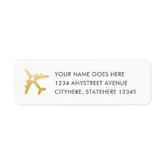 Gold Airplane Heart for Destination Wedding Return Address Label