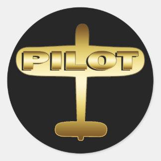 GOLD AIRPLANE PILOT ROUND STICKER