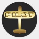 GOLD AIRPLANE PILOT ROUND STICKERS