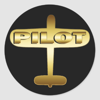GOLD AIRPLANE PILOT STICKERS