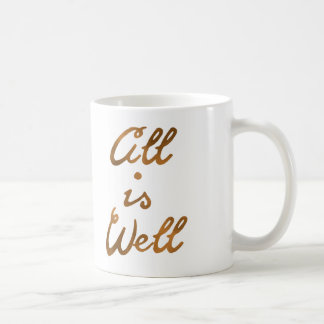 Gold All Is Well Quote Typography Coffee Mug