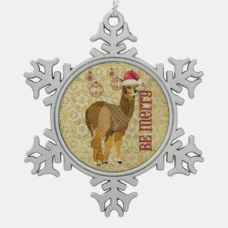 Gold Alpaca Be Merry Ornament
