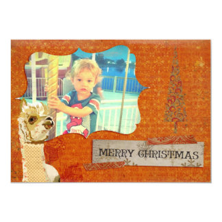 "Gold Alpaca Christmas Photo Card 5"" X 7"" Invitation Card"