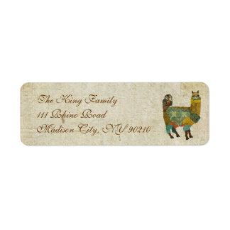 Gold Alpaca & Teal Owl Address Label