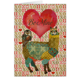 Gold Alpaca & Teal Owl Be Mine Card
