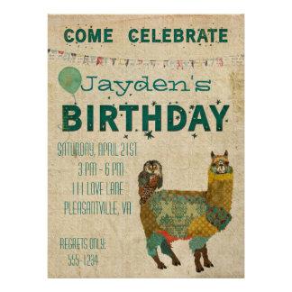 Gold Alpaca Teal Owl Birthday Invitation