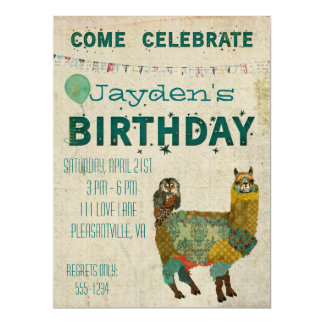 "Gold Alpaca Teal Owl Birthday Invitation 6.5"" X 8.75"" Invitation Card"