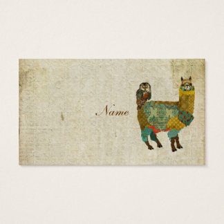 Gold Alpaca & Teal  Owl Business Card/Tags Business Card