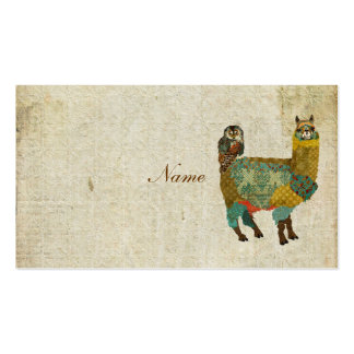 Gold Alpaca & Teal  Owl Business Card/Tags Pack Of Standard Business Cards