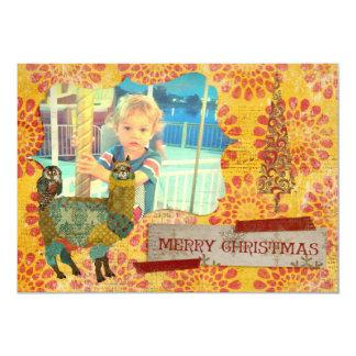 Gold Alpaca & Teal Owl Christmas Photo Card 13 Cm X 18 Cm Invitation Card