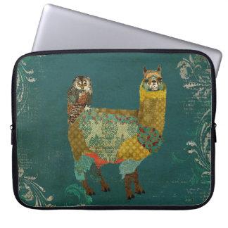 Gold Alpaca & Teal Owl  Computer Sleeve