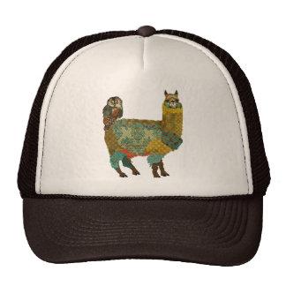 Gold Alpaca Teal Owl Hat
