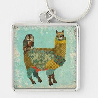 Gold Alpaca & Teal Owl Keychain