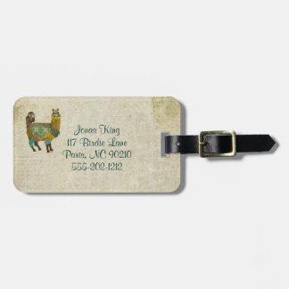 Gold Alpaca Teal Owl Luggage Tag