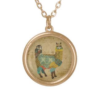 Gold Alpaca & Teal Owl Necklace