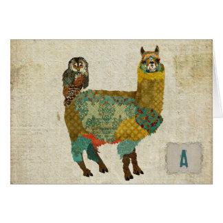 Gold Alpaca & Teal Owl Notecard