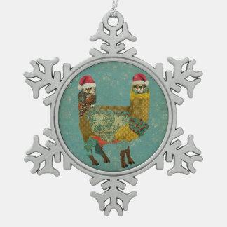 Gold Alpaca & Teal Owl Ornament