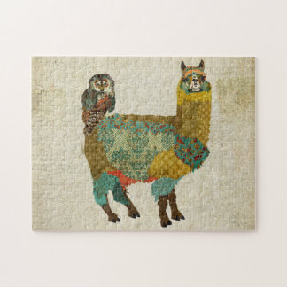 Gold Alpaca & Teal Owl Puzzle
