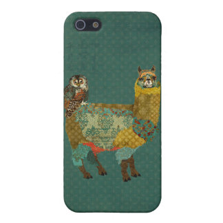 Gold Alpaca & Teal Owl Retro Blue  iPhone Case Cover For iPhone 5/5S