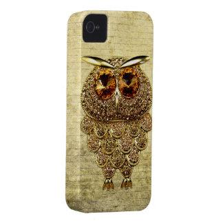 Gold & Amber Owl Jewel iPhone 4 Case