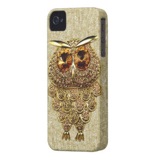 Gold & Amber Owl Jewel PRINTED IMAGE iPhone 4 Case-Mate Case