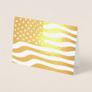 Gold American Flag USA Foil Card