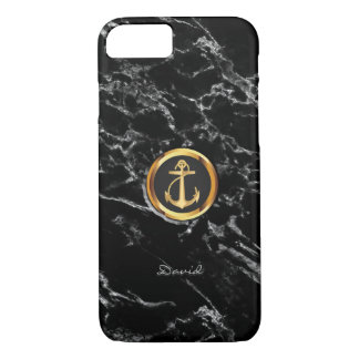 Gold Anchor Black Marble Texture iPhone 8/7 Case