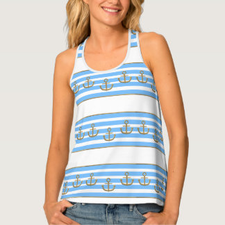 gold anchor blue white background singlet