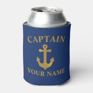 Gold Anchor Boat Captain Can Cooler