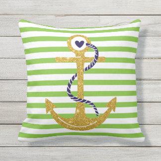 Gold anchor green, white stripes nautical outdoor cushion