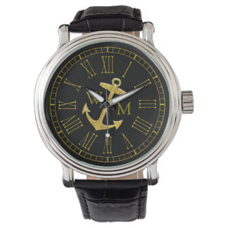 Gold Anchor Monogram Your Color Personalize Watch