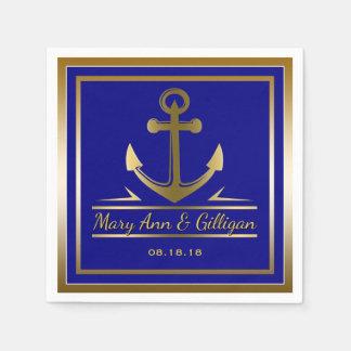 Gold Anchor Nautical Modern Wedding Navy Blue Disposable Napkins