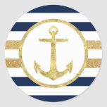 Gold Anchor Nautical Navy Stripes Envelope Seal Round Sticker