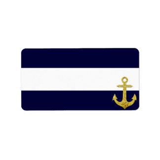 Gold anchor nautical stripes address label