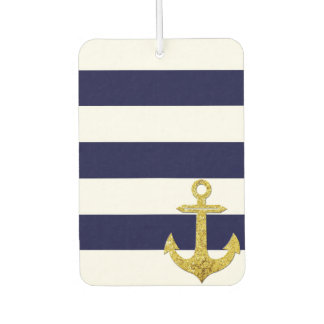 Gold anchor nautical stripes car air freshener