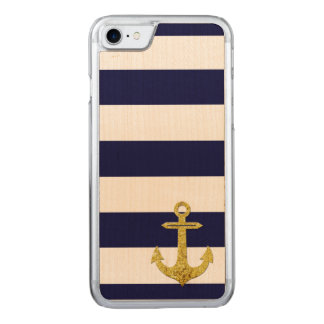 Gold anchor nautical stripes carved iPhone 7 case