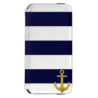 Gold anchor nautical stripes incipio watson™ iPhone 6 wallet case