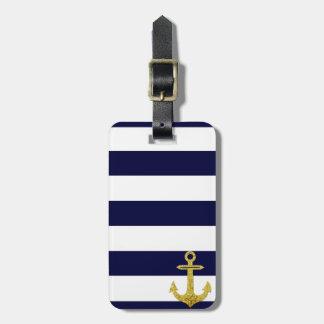 Gold anchor nautical stripes luggage tag