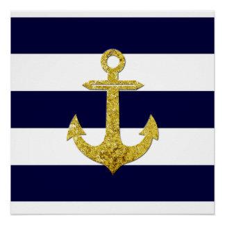 Gold anchor nautical stripes poster