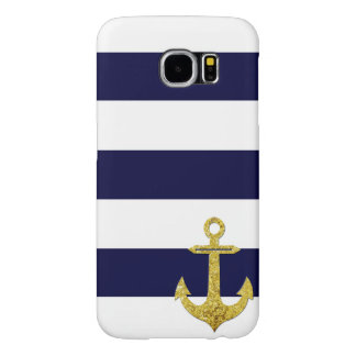 Gold anchor nautical stripes samsung galaxy s6 cases