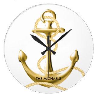 Gold anchor nautical wall clock Personalised